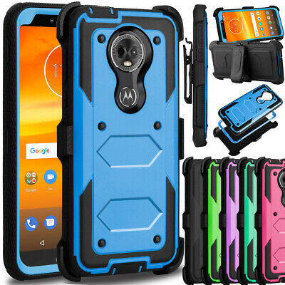 For Motorola Moto G7 Power/ Supra Case Shockproof Hybrid Clip Holster Hard Cover