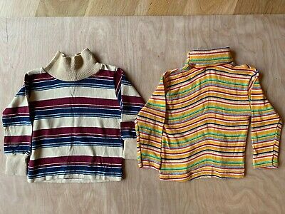 Two Vintage 70s 80s Health Tex Long Sleeve Striped Knit Shirt Size 2T