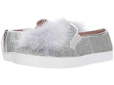 b41542be292c Kate Spade New York Latisa Slip On Silver Leather Sequin Feather Pom Sneaker  8.5