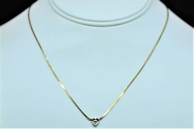 Diamond Heart and 14k Gold Italian Vintage Woman's Necklace Rare
