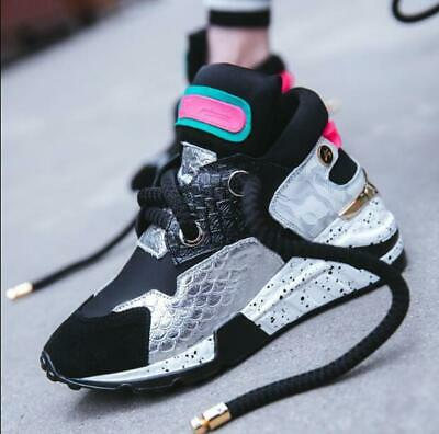 Womens Shoes Sneakers Round Toe Lace Wedge Heel Casual Athletic Running Leather