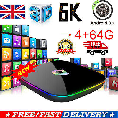 Newest Q Plus Android 8.1 TV BOX 4GB+64GB H6 Quad Core 6K HD Media Player