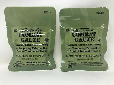 Lot of Two Quik Clot Combat Gauze, Hemostatic Dressing 2022 Exp IFAK EMS EMT