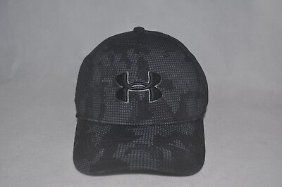 New Under Armour Boys  UA Printed Blitzing Cap Black Steel Stretch Fit Hat  XS 429d59fc3f84