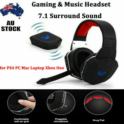 Wireless Gaming Headset MIC LED Headphones Surround for PC Laptop PS4 Xbox One