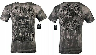 XTREME COUTURE by AFFLICTION Mens T-Shirt OIL SILCK Skulls Biker MMA UFC $40