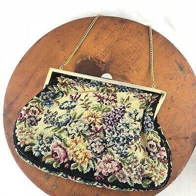 """Vtg 1950s Petit Point Tapestry Handbag Floral Chain Silk Lined 8"""" x 5"""""""