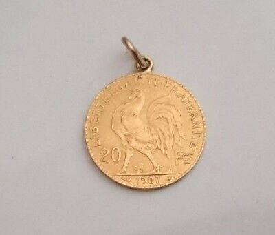 1907 Gold Coin/Pendant 20 Francs Marianne/Rooster