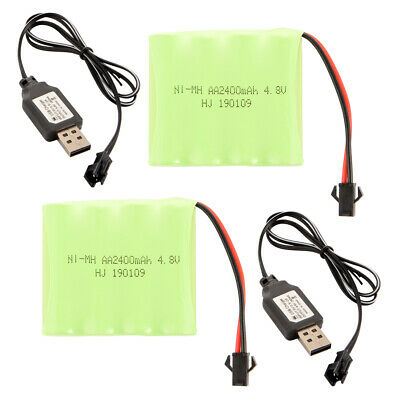 2x Ni-MH 4.8V 2400mAh Rechargeable AA Cell Battery Pack+USB Cable for Toys BC823