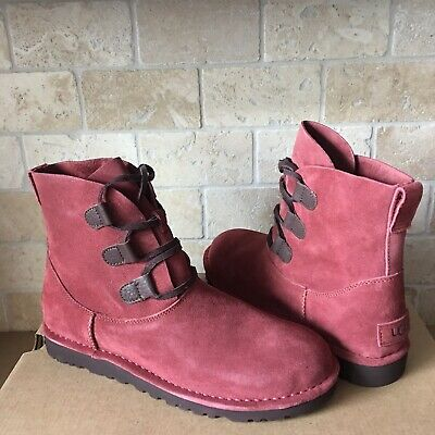 67086e39b15 UGG ELVI UNLINED Red Clay Suede Lace-up Ankle Boots Shoes Size 11 ...