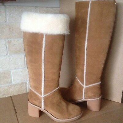 3a2e60a3471 UGG KASEN TALL Chestnut Suede Sheepskin Knee High Boots Size Us 7 ...