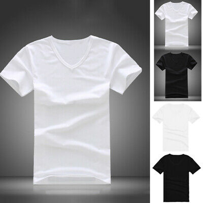Men Summer Casual Cotton Short Sleeve V-neck Plain T-Shirt Tops Black White