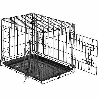 """Dog Puppy Cat Pet Cage Kennel Collapsible Metal Crate w/Tray 24"""" 30"""" 36"""" 42"""" 48"""""""