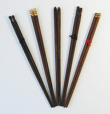 Vintage 5 Pairs Wooden Hand Carved Inlayed Chopsticks