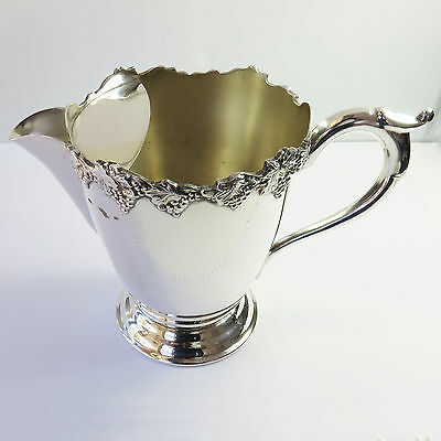 Vintage Kenson Plate Silverplate Water Jug/Pitcher With Ice Stopper, Grape Vine