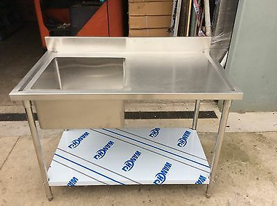 Brand New Commercial Stainless Steel Single Sink 150cm(L)x70cm(W)x90(H)cm