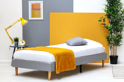 Modern Grey Fabric Platform Bed Frame Single Double King Size COSMETIC DEFECT