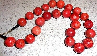 Coral Necklace,Hand Knotted Quality Round  Genuine Coral Beads 18 inches  long