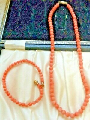2pc. NATURAL  Coral Lovely Soft Color Quality Round Beads 16 inches  long 7.6 In