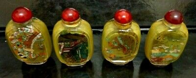 Vintage Chinese Crystal Set 4 Inside Hand Painted Snuff Bottle With Lid Boxed