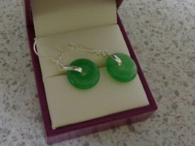 Natural Light Green Jade Gems 925 Sterling Silver Pierced Earrings