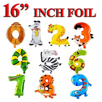 """Self Inflating 16"""" INCH Foil Number BALLOON Happy Birthday Large Animal Balloons"""