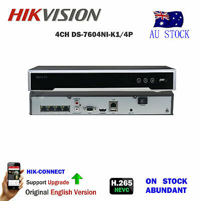 HIKVISION DS-7604NI-K1/4P 6MP NVR for Camera CCTV System ONVIF 4 POE Interfaces