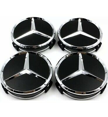 4x Black Wheels Centre Caps 60 MM outer,55 mm clips diameter. FITS Mercedes