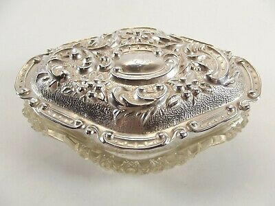 Antique Trinket Box With Silver Lid Hallmarked Birmingham 1906 Ref 355/2