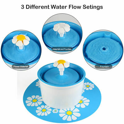 Flower Style Automatic Electric 1.6L Pet Water Fountain Dog/Cat Drinking Bowl US