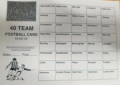 40 Team X 50 Scratch CHARITY Fundraising football  Cards Pubs Clubs events