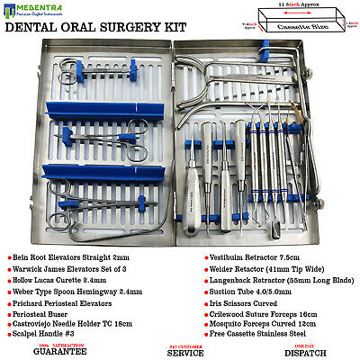 Dental Implantology Sinus Lift Surgical Instruments Tray Setup Set of 18 Pieces