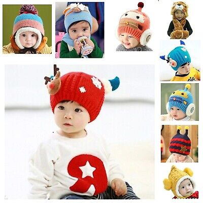 ab5535eef76 EXCLUSIVE Baby Beanie Hat Winter Warm Woven Knit Crochet Fluffy Cap Scarf  Set