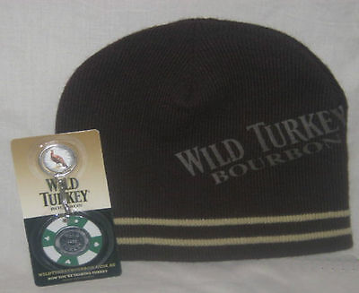 Wild Turkey Bourbon Knitted Beanie Brand New! + FREE Wild Turkey Poker Keyring