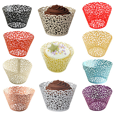 25/50/100 Filigree Vine Lace Cupcake Wrappers Muffin Cases Wedding Birthday Cake