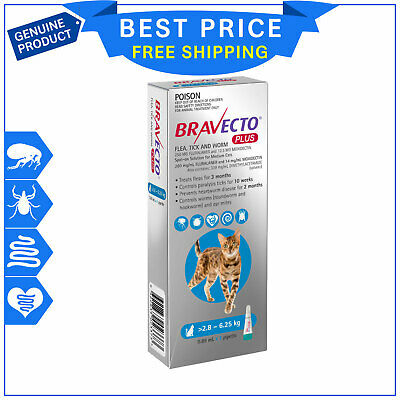 BRAVECTO PLUS for Cats 2.8 to 6.25 Kg BLUE 1 Pipette Heartworm Flea Treatment
