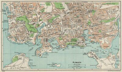 PLYMOUTH. Vintage town city map plan. Devonport Stonehouse. Devon 1957 old