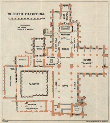 CHESTER cathedral vintage floor plan. Cheshire 1957 old vintage map chart