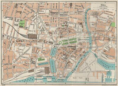 HULL. Vintage town city map plan. Yorkshire 1957 old vintage chart