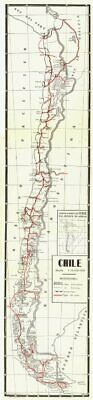 Full length map of Chile. 1932 old vintage plan chart