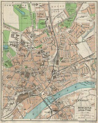 NEWCASTLE-ON-TYNE. Vintage town city map plan. Northumberland 1957 old