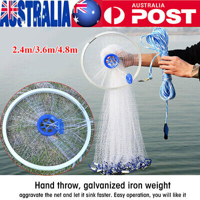 8ft-16ft 3/8'' Cast Net Quick Throw Mono Mesh Drawstring Chain Bottom Spread
