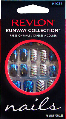 Revlon Runway False Nails Blue With Glitter & Nail Tip Design Press On 91031