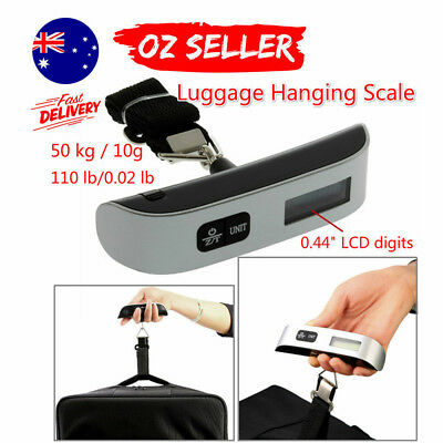 50kg/10g Portable LCD Digital Hanging Luggage Scale Travel Electronic Weight X@J