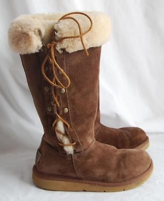 79084ac5894 UGG AUSTRALIA SHEARLING Sheepskin Upside # 5163 Side Lace Brown Very ...