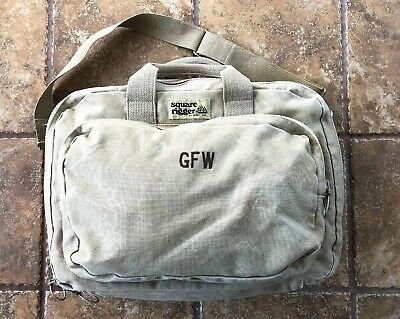LANDS END SQUARE Rigger Duffle Carry-on Shoulder Bag Canvas Leather ... 742678b4546bf