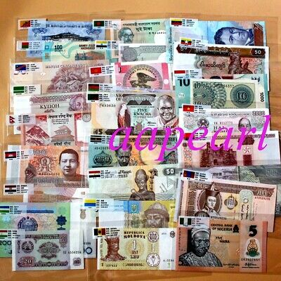 Lots 50 banknotes Different 25 countries with flags PAPER MONEY Uncirculated