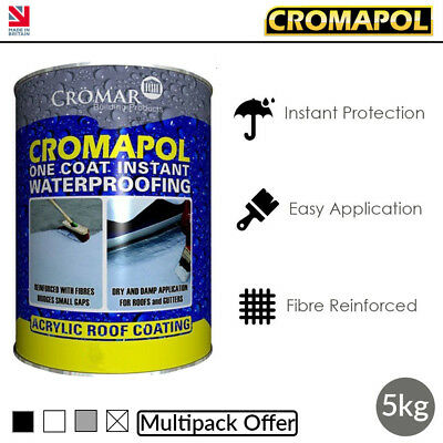 Cromapol | Acrylic Roof Coat | Roof Paint Sealant | Multipack Offer | 5kg Tins