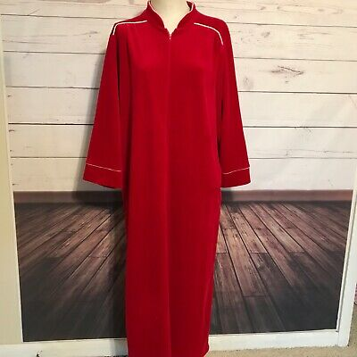 e8a9ea4b6c Christian Dior Red Vintage Robe Medium zip front white piping trim pockets  1980s
