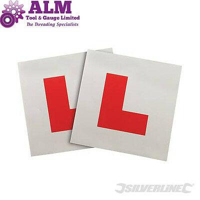 Pack of 2 Silverline Magnetic 'L' Plates, Learner Driver Safety, Driving Test